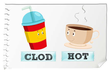 adjective: Opposite adjectives cold and hot illustration Illustration