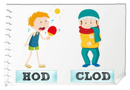 cold: Adjective hot and cold illustration