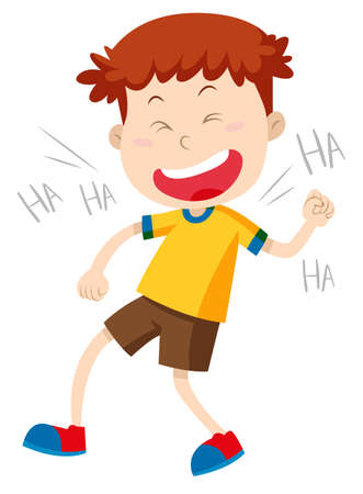 child laughing: Little boy laughing alone illustration Illustration