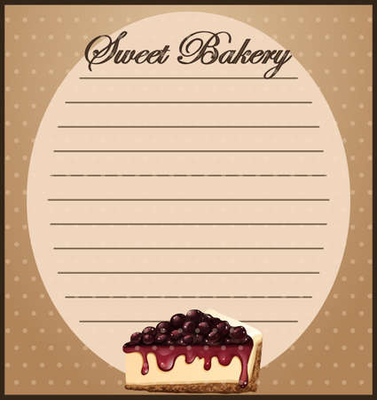 blueberry cheesecake: Line paper with cheesecake illustration