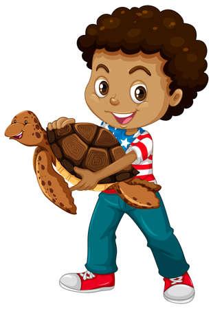 adolescent african american: Little boy and sea turtle illustration Illustration