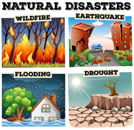 brandweer cartoon: Verschillende soorten natuurrampen illustratie