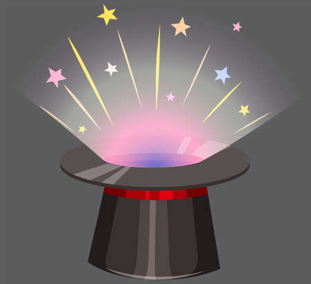 beam: Magic hat with light beam coming out illustration