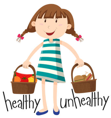 adjective: Girl and basket with healthy food and unhealthy food illustration Illustration