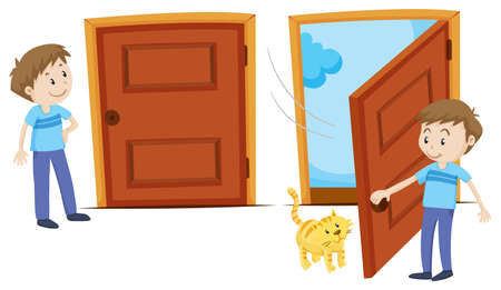 Door closed and door opened illustration Stock Illustratie