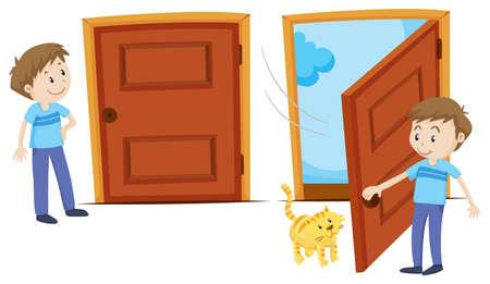 Door closed and door opened illustration Vectores