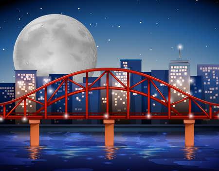moonrise: City scene with bridge over the river illustration Illustration