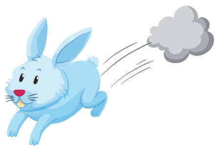 Cute rabbit running alone illustration