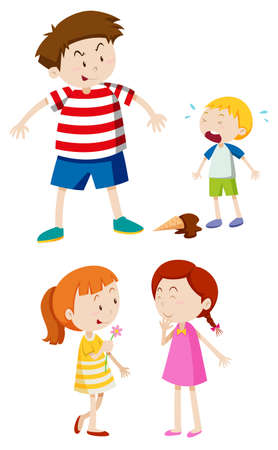 small group of objects: Gangster boy and friendly girl illustration