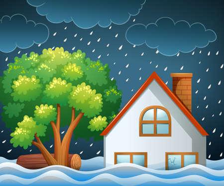 홍수 그림의 자연 재해 현장