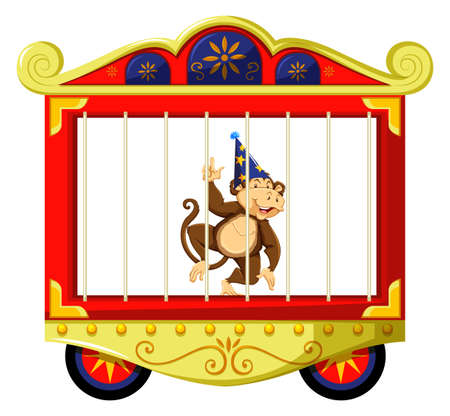 cage gorilla: Monkey in circus cage illustration Illustration