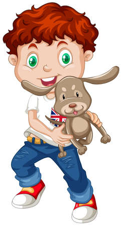 whie: Little boy holding a puppy illustration