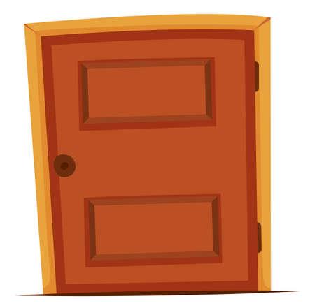 art door: Wooden door with round knob illustration
