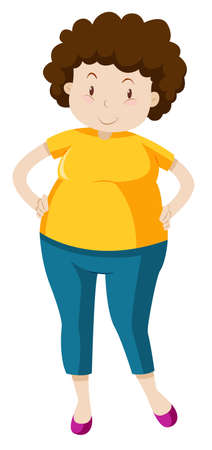 middle aged woman: Chubby woman wearing shirt and jeans illustration