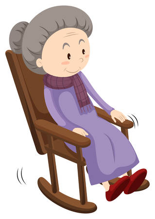 old people smiling: Old lady on rocking chair illustration Illustration