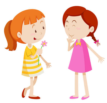 little girls: Two girls chatting with each other illustration