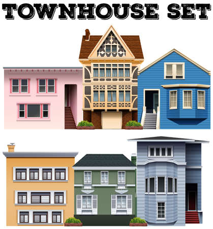 rows: Different design of townhouses illustration