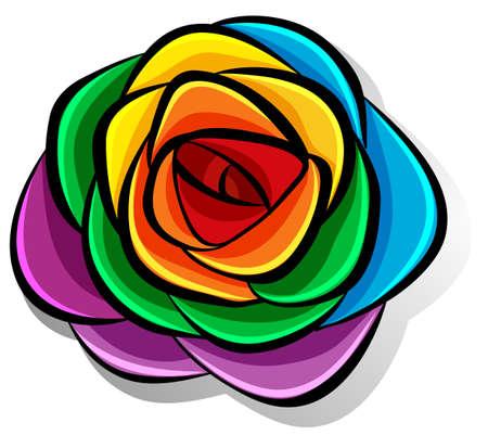 lesbian: Rainbow flower on white illustration
