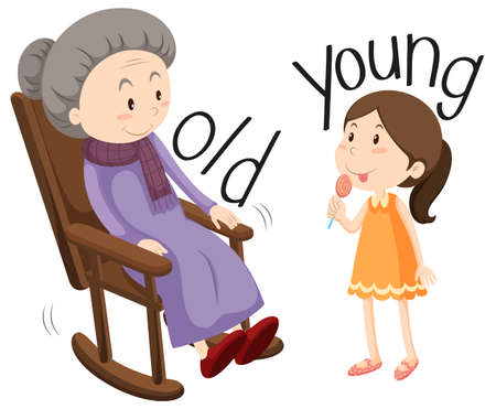 adjective: Old woman and young girl illustration Illustration