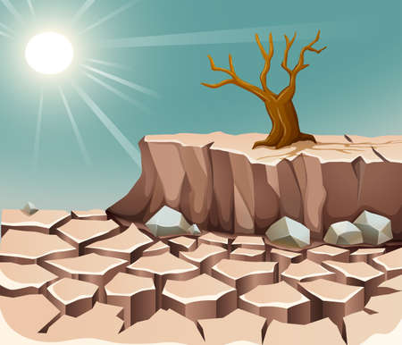 dry land: Nature scene with hot sun and dry land illustration