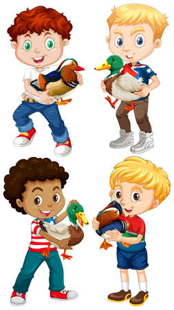 young boy smiling: Boys carrying little ducks illustration