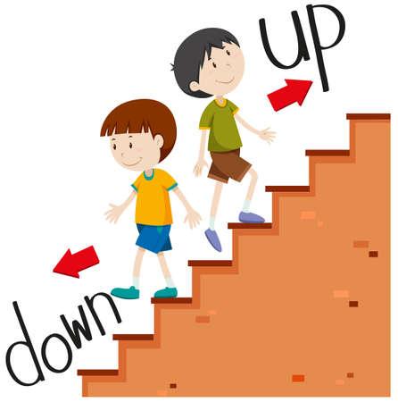 Garçons à pied et illustration bas