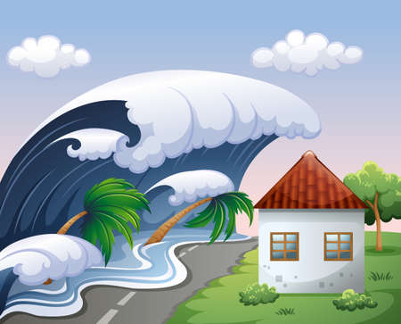 Tsunami with big waves over the house illustration Illustration