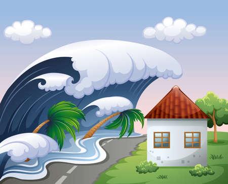 Tsunami avec de grosses vagues sur la maison illustration Banque d'images - 49135317