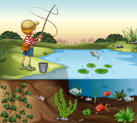 fishing lake: Boy on the river bank fishing alone illustration Illustration
