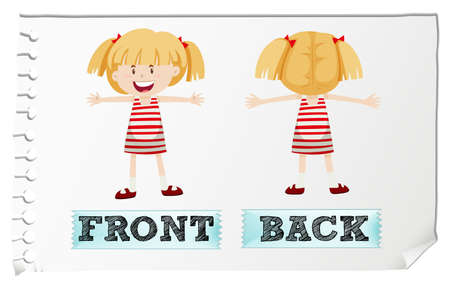 adjectives: Opposite adjectives front and back illustration