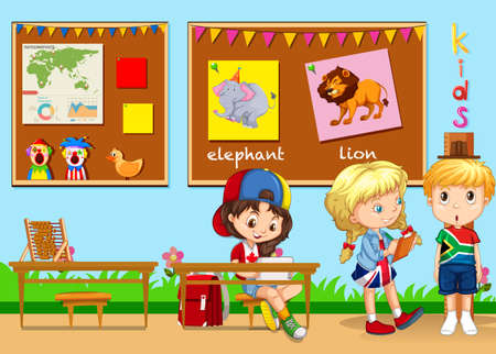 school class: Children learning in the classroom illustration