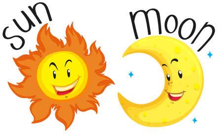 sonne mond und sterne: Sonne und Mond mit glücklichem Gesicht illustration