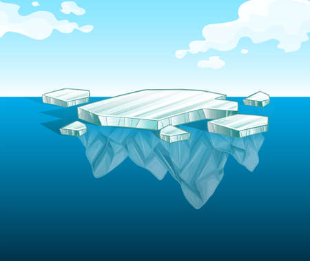 Thin iceberg on water illustration