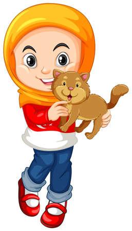 petite fille musulmane: Petite fille et une illustration de chat Illustration