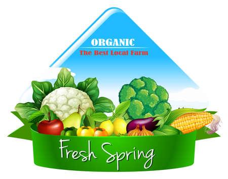 Logo design with many vegetables illustration Stock Illustratie