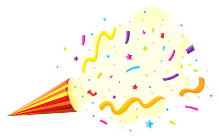 party popper: Party popper in red and yellow striped illustration