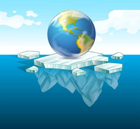 Sparen de aarde thema met aarde op ijs illustratie