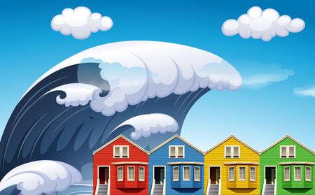 tsunami: Tsunami with big waves over houses illustration