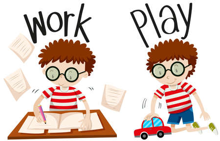 happy children: Opposite adjectives work and play illustration