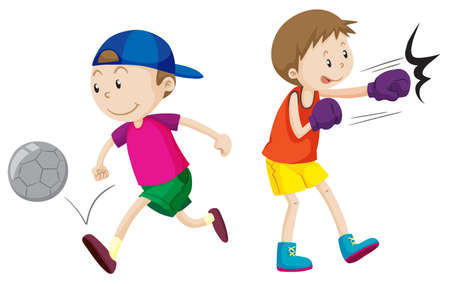 boy boxing: Boy playing football and boxing illustration