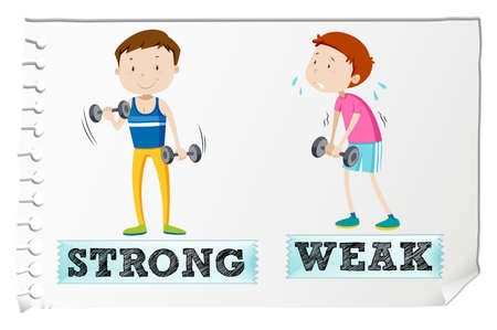 strong boy: Opposite adjectives with strong and weak illustration