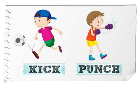 kicking: Boy kicking and punching illustration Illustration
