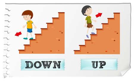 down the stairs: adjetivos opuestos hacia abajo y hacia arriba la ilustración Vectores