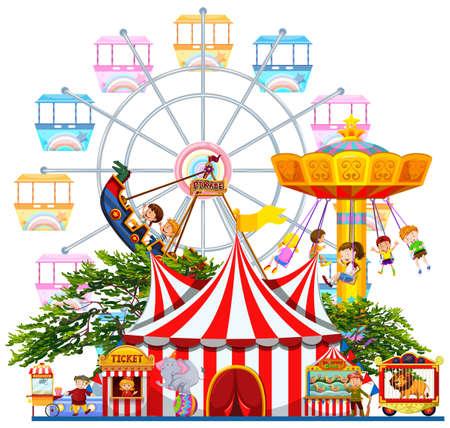 Escena del parque de atracciones con muchos paseos en la ilustración Foto de archivo - 49391701