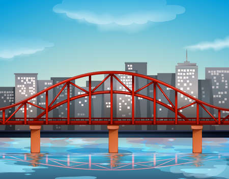 city view: City view with bridge over the river illustration