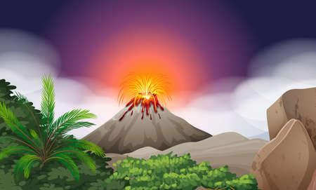 Escena de la naturaleza con la ilustración de la erupción del volcán Ilustración de vector