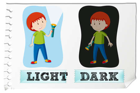 adjectives: Opposite adjectives with light and dark illustration
