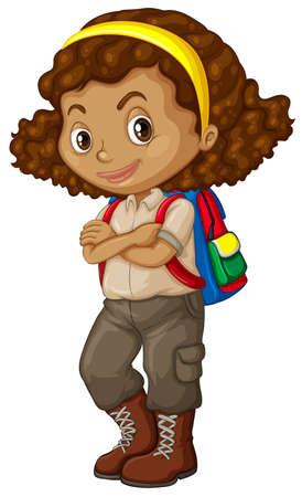 Chica afroamericana con la ilustración de la mochila