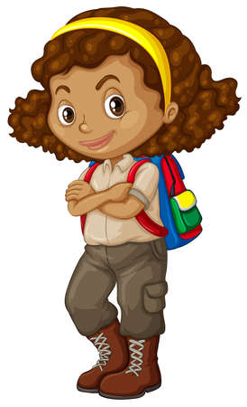 African american girl with backpack illustration