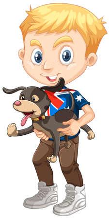 young boy smiling: Little boy holding a dog illustration